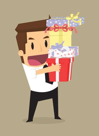 felicitaciones: hombre de negocios con una caja de regalo, que era un caso especial. vector