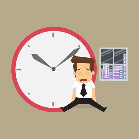 working overtime: businessman working overtime too. vector