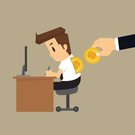 arouse: businessman working with drop coins, arouse the working efficiency. vector Illustration