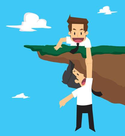 abyss: businessman teamwork. vector Illustration