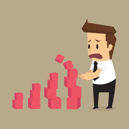 fall down: businessman create graphs fall down,  bankrupt. vector