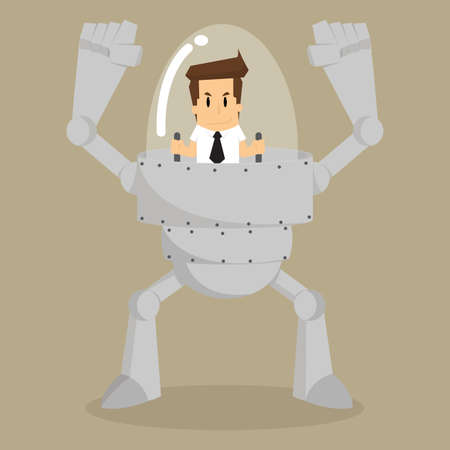 businessman control the robot assistant work. vector