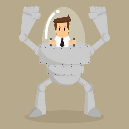 zakenman de controle van de robot assistent werk. vector