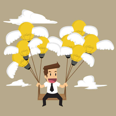 businessman sitting swings bulb idea, brainstorm. vector Ilustrace