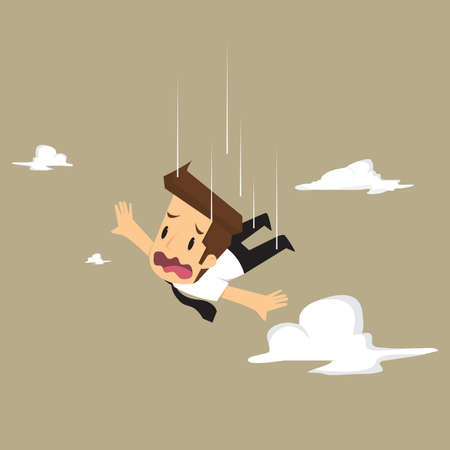 abyss: businessman abyss falls, failed in business. vector