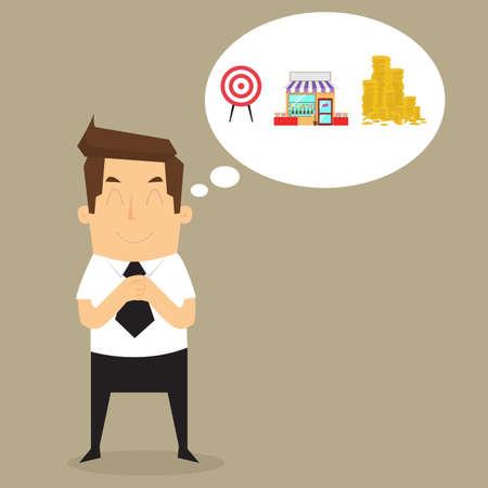 businessman imagine building to target. vector Vettoriali