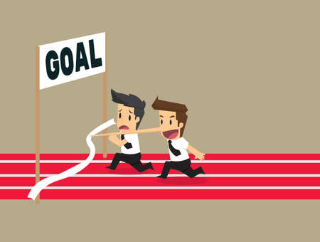 cheater: businessman finish goal  Win with the long nose. vector Illustration