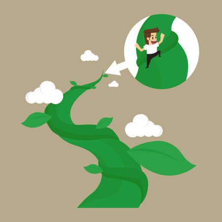 yearn: business man to climb the Beanstalk to ultimate success in the future. vector
