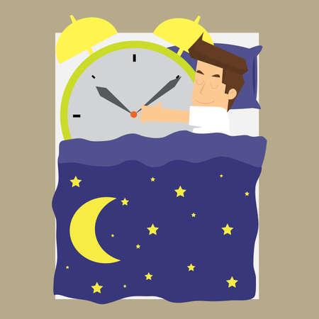 alarm clock: businessman sleeps with alarm clock. vector