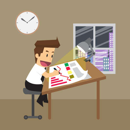 overtime: businessman working overtime, planning. vector