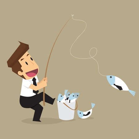 doing business: Businessman hand holding fishing rod, Fooled of doing business. vector