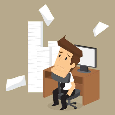 businessman lazy work, accumulation of work. vector