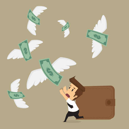 businessman with money flying away. vector
