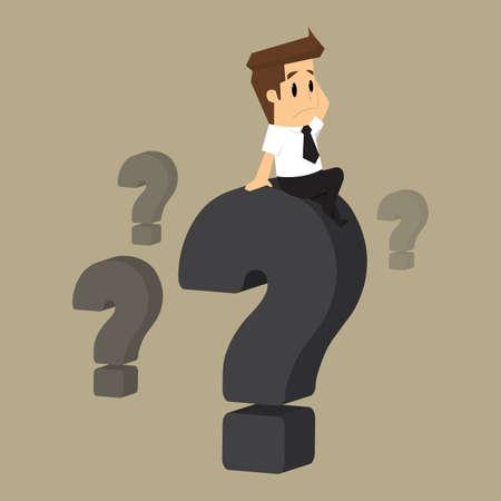 obrero caricatura: hombre de negocios que se confunde, pregunta. vector Vectores