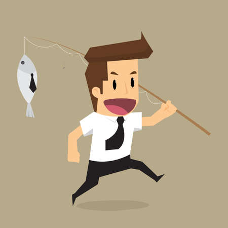 exploited: Businessman hand holding fishing rod, Fooled of doing business. vector