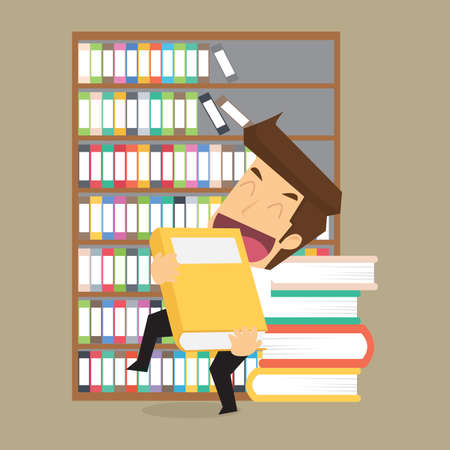 research worker: businessman with a book, studies on the investment. vector