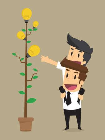 thrive: businessman, teamwork, brainstorming bulb idea. vector