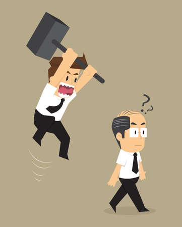 patron: hombre de negocios salto jefe rotura violenta. vector Vectores