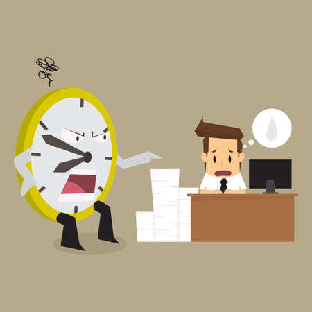 tired man: clock complain businessman working time is limited. vector Illustration