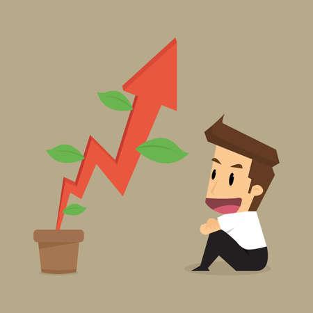 rowth: businessman wait to grow up rising arrow. vector Illustration