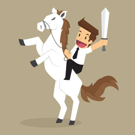 businessman riding white horse, through obstacles. vector
