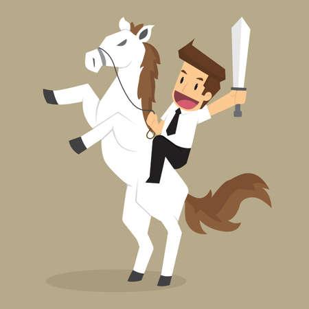 zakenman wit paard berijdt, door obstakels. vector