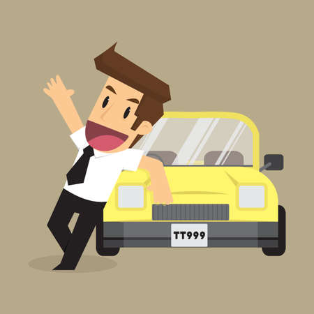 businessman: business man with a car. vector Illustration