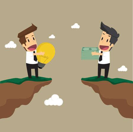 Uomo d'affari per cambiare l'idea lampadina è il denaro. vettore Archivio Fotografico - 42689551