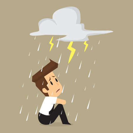 Unlucky businessman being wet from rain. vector