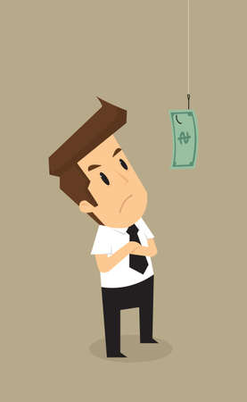 hesitation: Businessman standing hook with money as bait vector Illustration