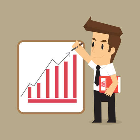 earning: businessman wrote the arrow higher levels, earning more. vector Illustration