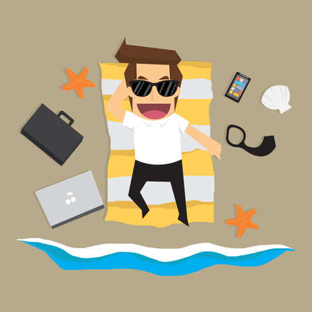 young businessman: businessman stop working and relax. vector