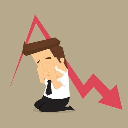 unsuccessful: Sad businessman down arrow graph. vector Illustration