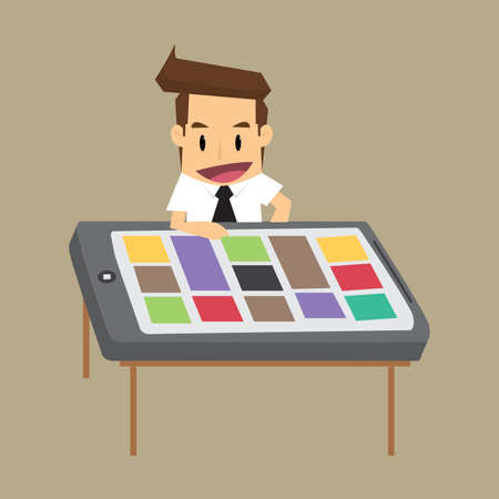smartphone business: business man with a desk, a smartphone. vector