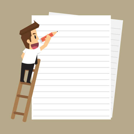 businessman taking notes on paper. vector