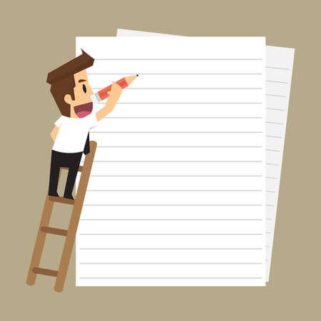 zakenman het maken van notities op papier. vector Stock Illustratie