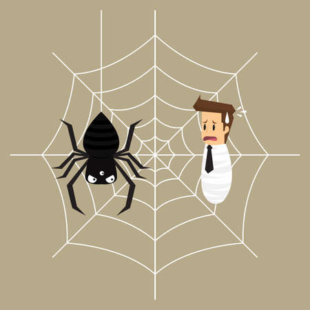 spiders web: business man is trapped in the spiders web. vector
