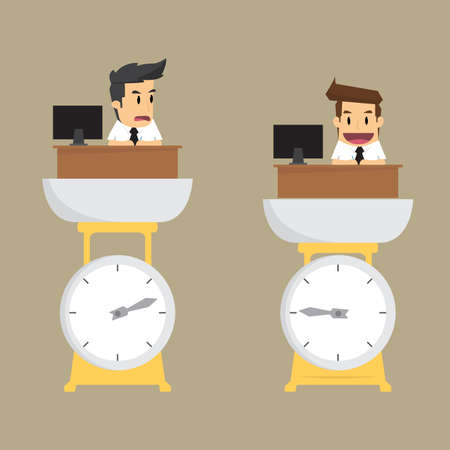 business performance: businessman to measure the ability to work. By weighing, measuring the ability. vector