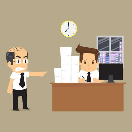 awkwardness: businessman to finish the work on time. vector