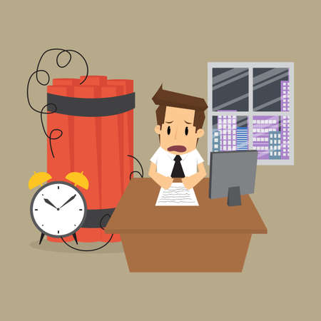 time limit: business man working within the time limit, a time bomb. vector
