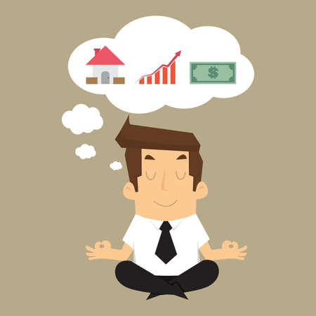 OBJETIVOS: hombre de negocios imaginar la construcción de los ingresos a casa, dinero, en el futuro. vector