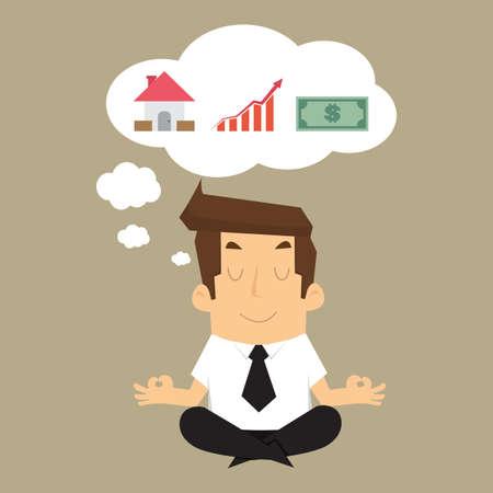 Uomo d'affari di immaginare la costruzione di reddito a casa, soldi, in futuro. vettore Archivio Fotografico - 42689683