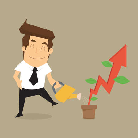personality development: businessman pouring water to grow up rising arrow. vector