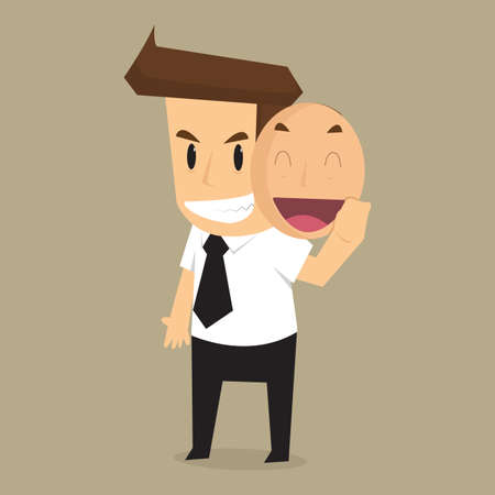 concealed: business man in the mask smile hide hypocrisy. vector Illustration