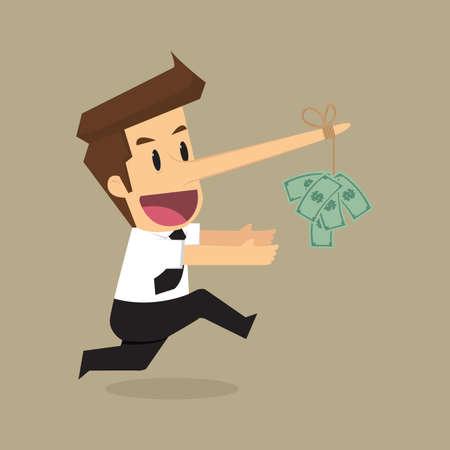 egoísta: Hombre de negocios con un dinero de nariz larga en el dinero como cebo. vector