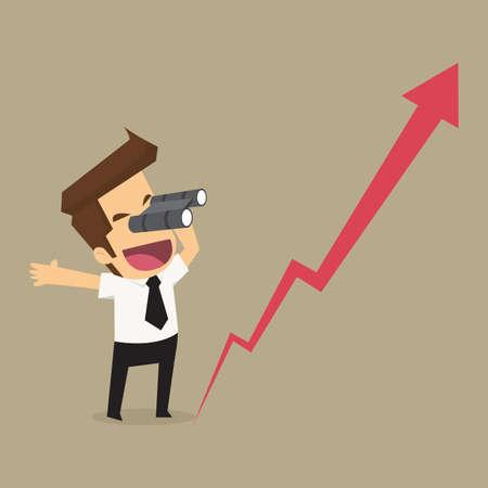 zakenman met behulp van een verrekijker. Kijken naar de groei van het bedrijf. vector Stock Illustratie