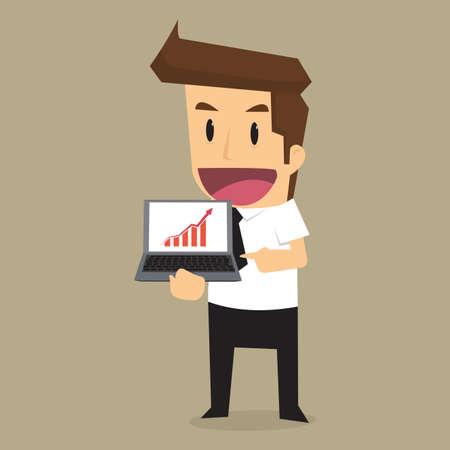 zakenman huidige inkomen grafiek met de notebook. vector