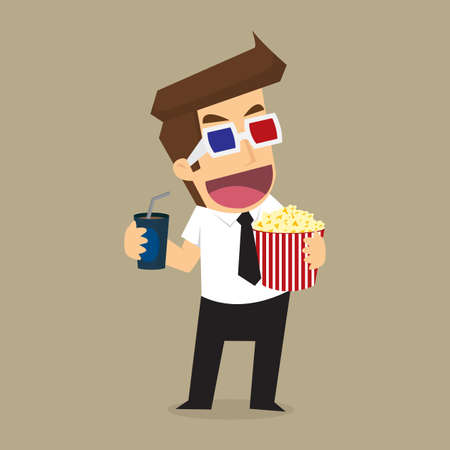 the day off: businessman movies. vector Illustration