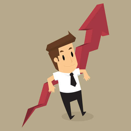 lean over: businessman lean over growing chart. vector