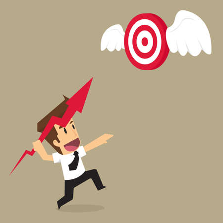 pelt: businessman throwing arrows into the target flying. vector Illustration